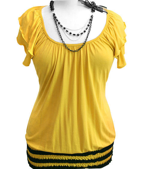Plus Size Sexy Bead Necklace Yellow Top