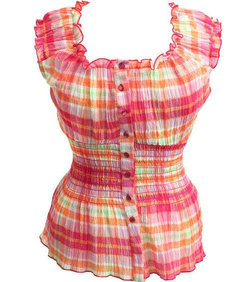 Plus Size Plaid Sleeveless Pink Top