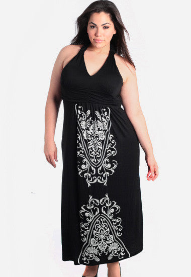 Plus Size Floor Length Stitch Halter Dress