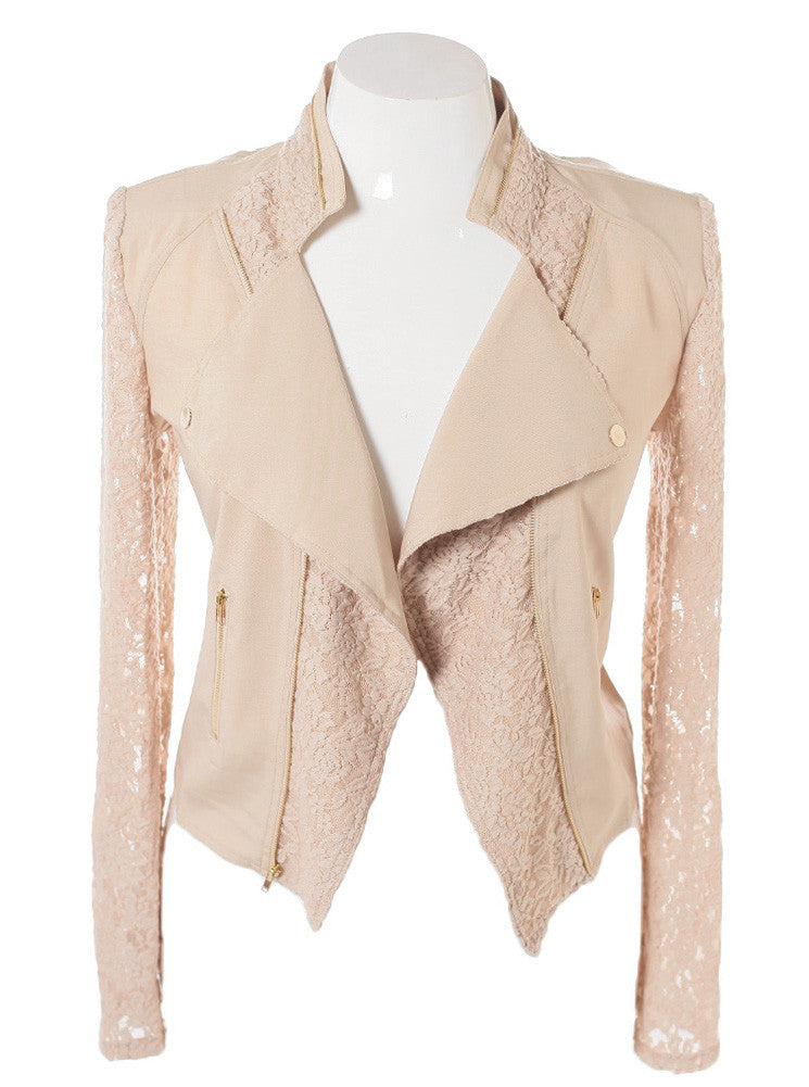 Plus Size Lace Sleeves Tan Biker Jacket