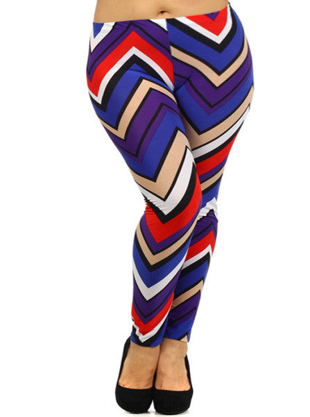 Plus Size Colorful Stripe Blue Leggings
