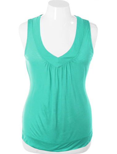 Plus Size Lace Back V Neck Teal Top