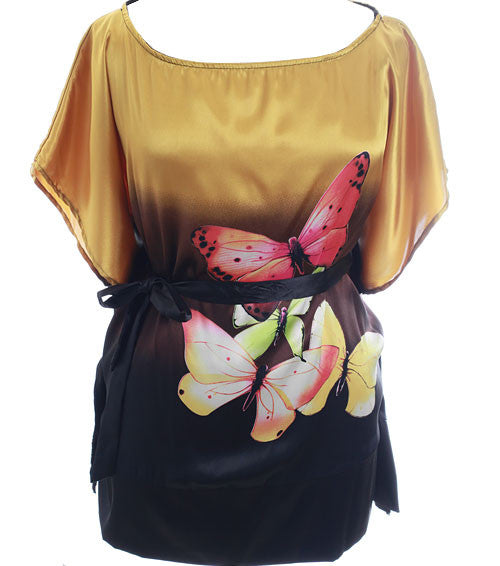 Plus Size Satin Sexy Butterfly Gold Wrap Top