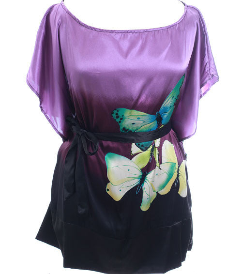 Plus Size Satin Sexy Butterfly Purple Wrap Top