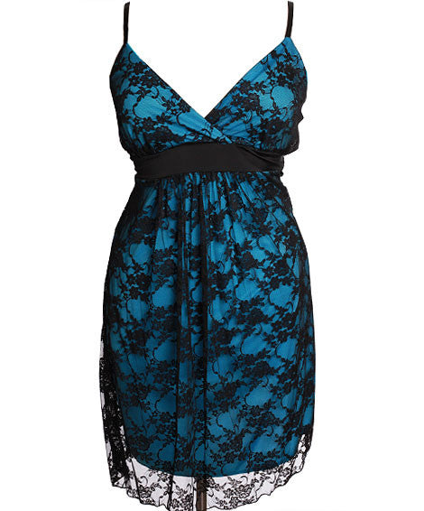 Plus Size See Through Layered Teal Dress