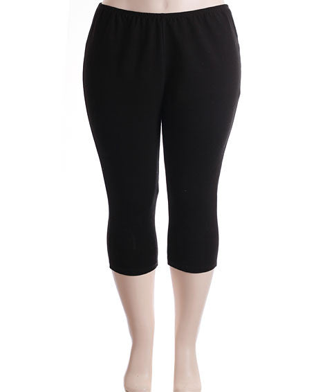 Plus Size Soft Stretchy Capri Black Leggings