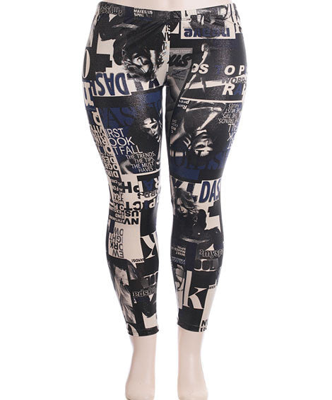Plus Size Stretchy Hollywood Blue Leggings