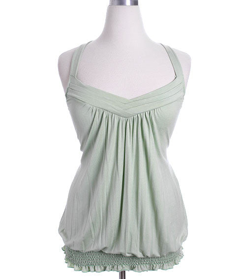 Plus Size Layered Collar Lime Tank Top