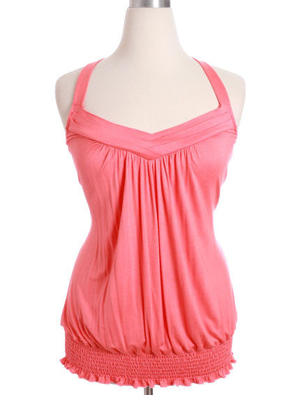 Plus Size Layered Collar Pink Tank Top