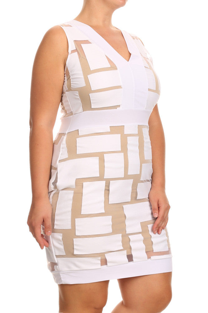 Plus Size Sexy Mesh Panels Mini Dress