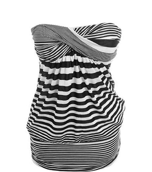 Plus Size Padded Chest Stripe Tube Top