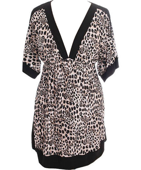 Plus Size Leopard Kimono Long Dress