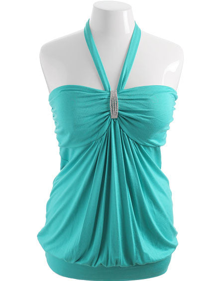 Plus Size Diamond Teal Halter Top