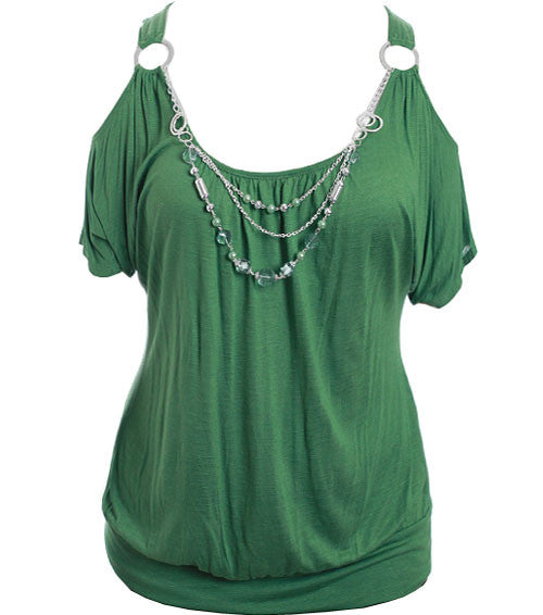 Plus Size Open Shoulder Jewelry Green Top