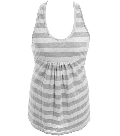 Plus Size See Through Back Stripe Grey Top