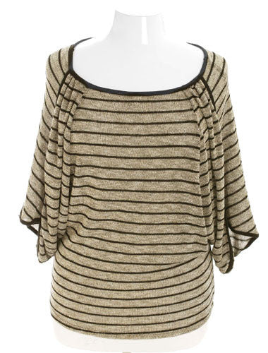 Plus Size Sparkling Gold Stripe Layered Blouse