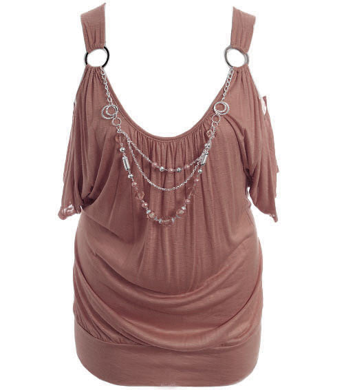 Plus Size Open Shoulder Jewelry Brown Top