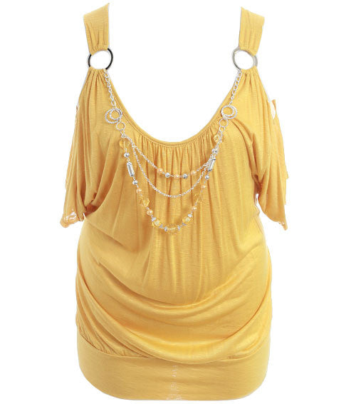 Plus Size Open Shoulder Jewelry Yellow Top