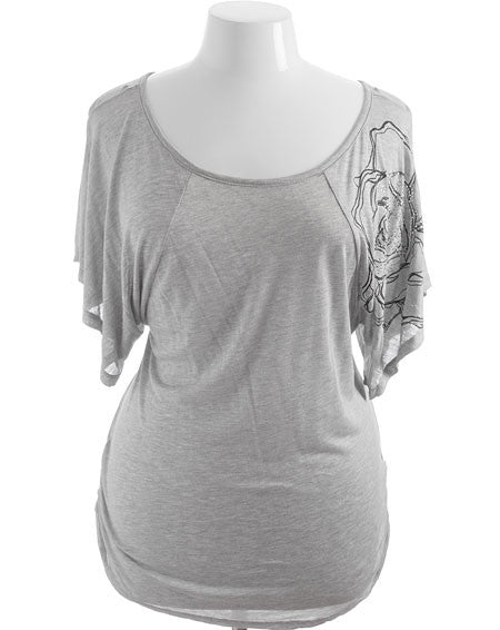 Plus Size Flutter Sleeve Beaded Grey Top