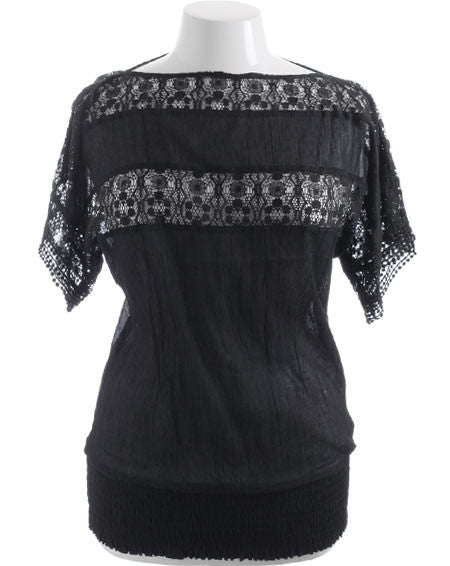 Plus Size Cotton Lace See Through Black Top