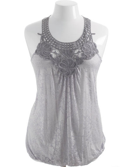 Plus Size See Through Chest Floral Grey Top