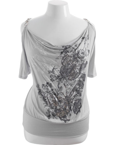 Plus Size Diamond Chain Strap Butterfly Grey Top