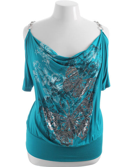 Plus Size Diamond Chain Strap Butterfly Blue Top
