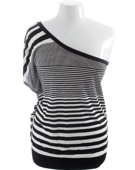 Plus Size Single Shoulder Stripe Top