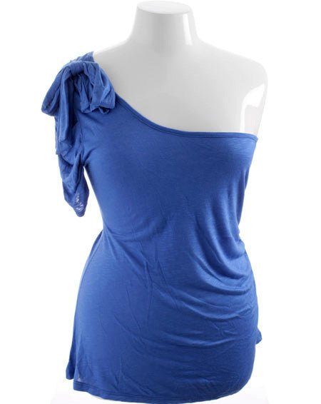 Plus Size Single Shoulder Ribbon Bow Blue Top
