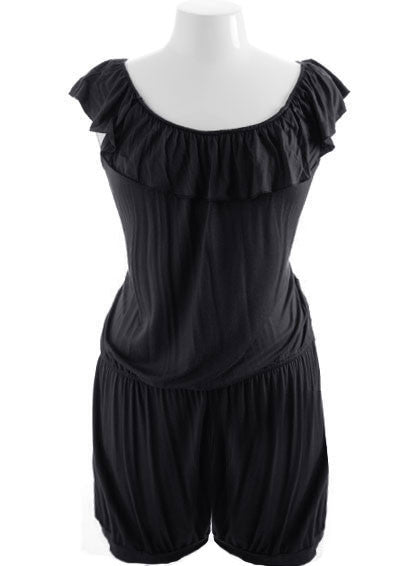 Plus Size Sexy Tiered Loose Black Jumpsuit
