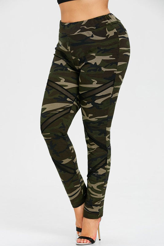 Plus Size Athletic Mesh Panel Camo Print Leggings
