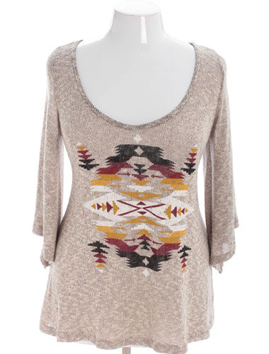 Plus Size Sexy Navajo Feather Tan Top
