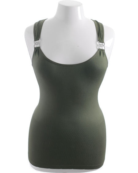 Plus Size Stretchy Diamond Green Tank