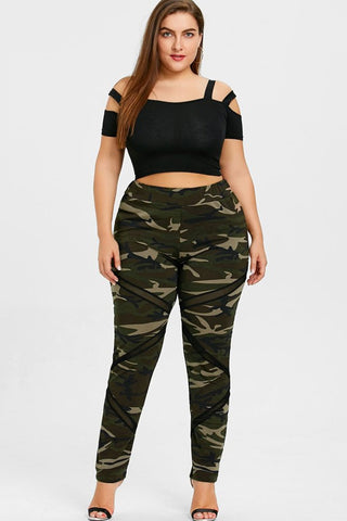 eca24928994 Plus Size Athletic Mesh Panel Camo Print Leggings ...