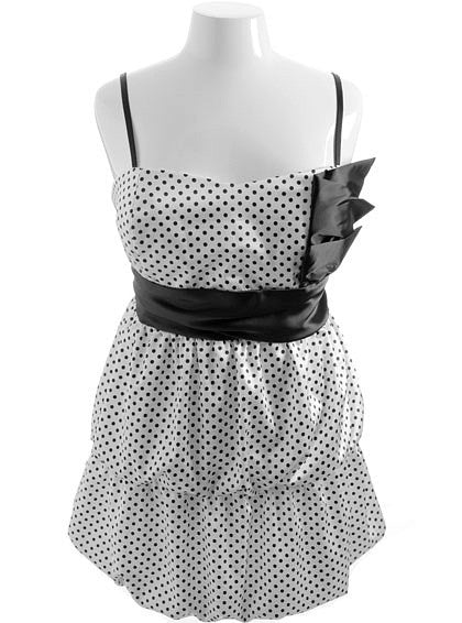 Plus Size Unique Polka Dot Bubble Dress
