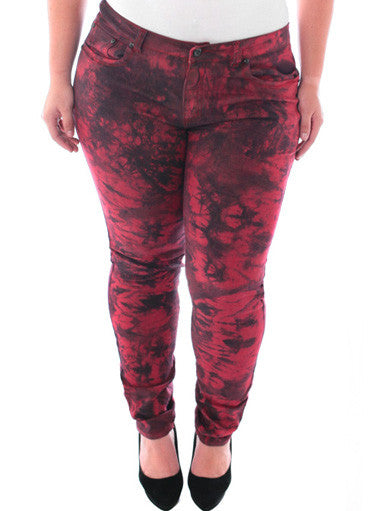 Plus Size Sexy Mineral Wash Red Skinny Jeans