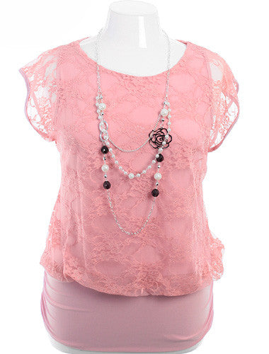 Plus Size Layered Lace Blouse Pearl Necklace Pink Top
