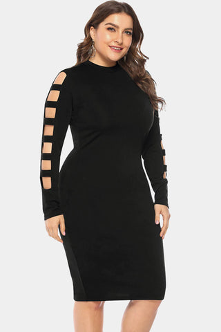 Plus Size Lavish Cut Out Sleeve Midi Club Dress