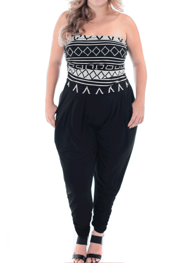 Plus Size Hot Strapless Tribal Print Jumpsuit