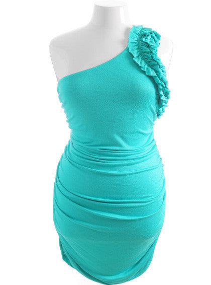 Plus Size Sexy One Shoulder Teal Dress