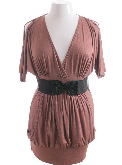 Plus Size Sexy Open Shoulder Belted Taupe Mini Dress