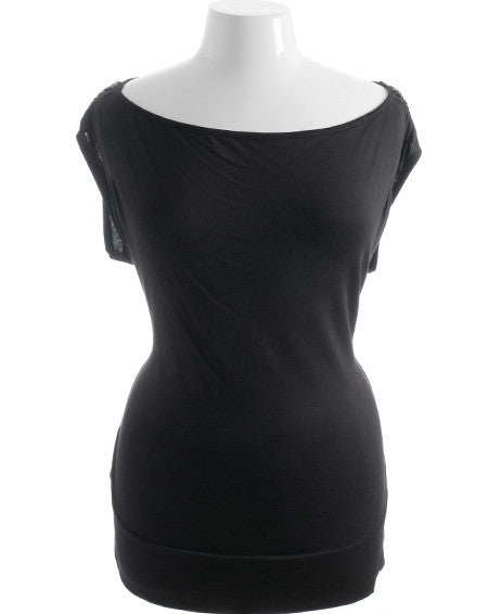 Plus Size Black Gem Stone Shoulder Top