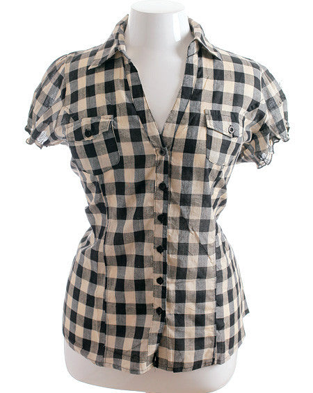 Plus Size Adorable Slim Plaid Black Top