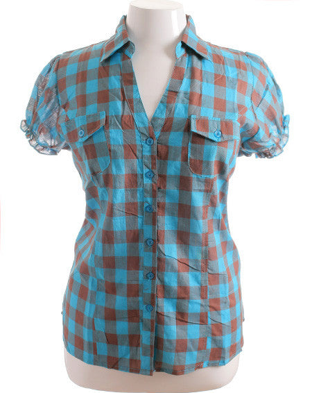 Plus Size Adorable Slim Plaid Blue Top