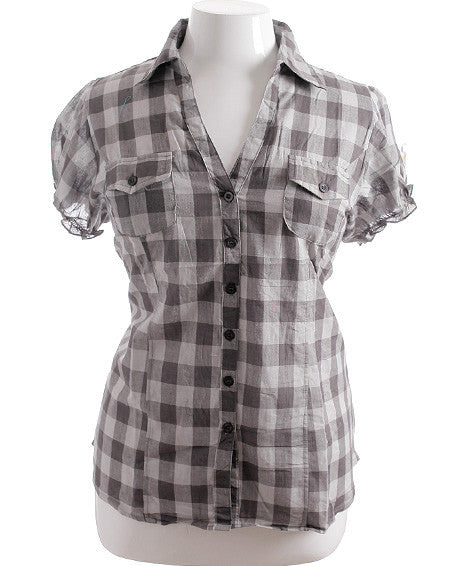 Plus Size Adorable Slim Plaid Grey Top