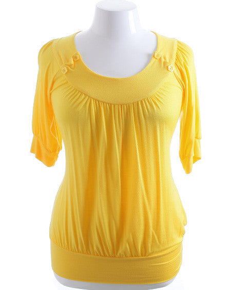 Plus Size Adorable Button Half Sleeve Yellow Top