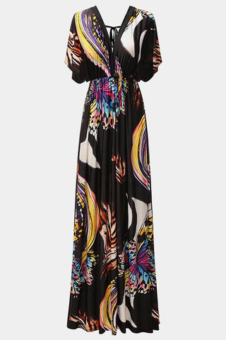 Plus Size Open Back Feather Hem Flutter Sleeves Maxi Dress