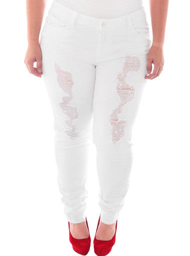 Plus Size Designer Distressed White Skinny Jeans