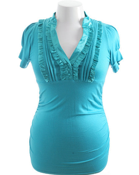 Plus Size Sexy Shiny Ruffled Slim Teal Top