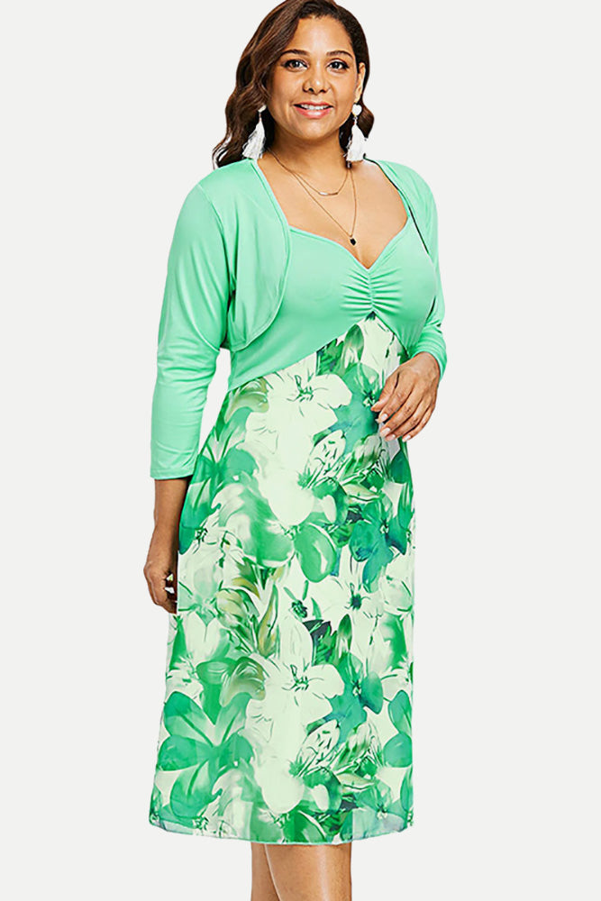 Plus Size Adorable Two Piece Cardigan Floral Dress